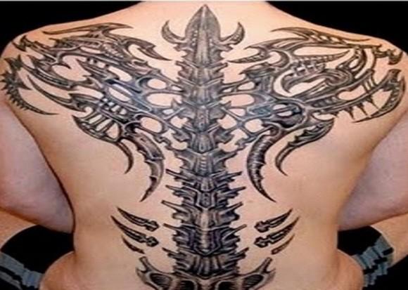 3D Back Bone Tribal Tattoos Designs For Men