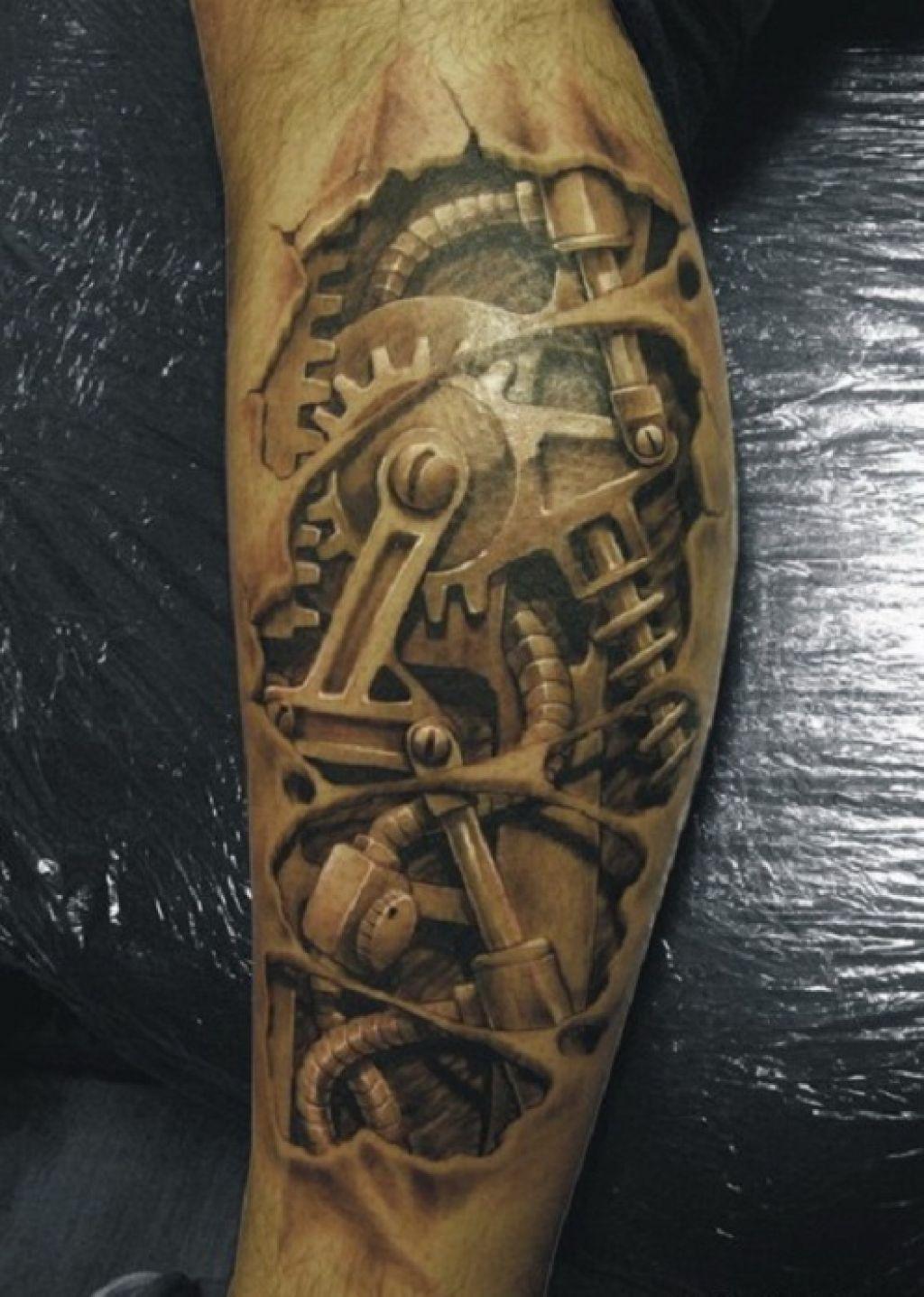 3D Machine Tattoos Design On Men Arm Pictures