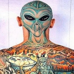 Alien Full Back Body Tattoo Pictures