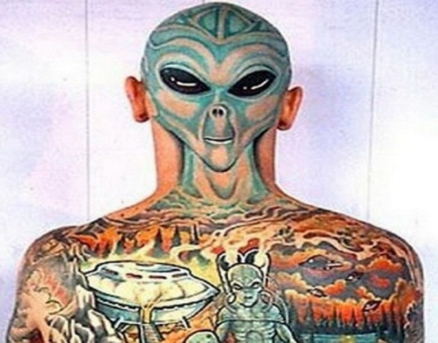 Alien Full Back Body Tattoo
