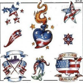 America Design Temporary Tattoos God Bless Pictures