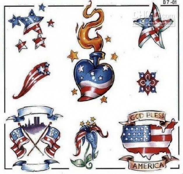 America Design Temporary Tattoos God Bless