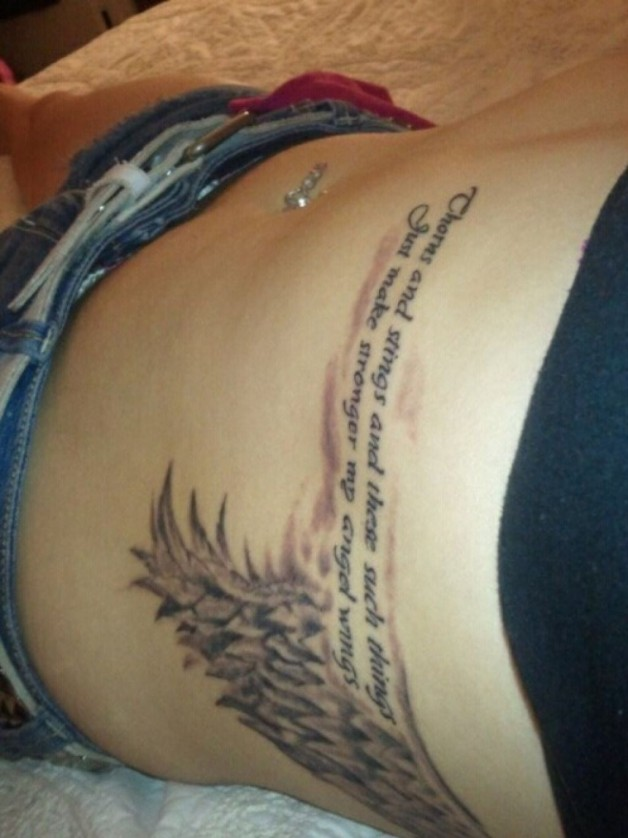 Angel Wing Quote Tattoo On Ribs