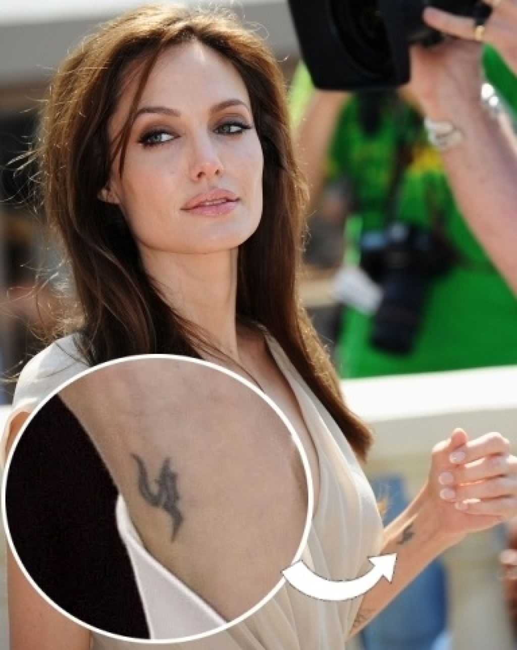 Angelina Jolie Artist Left Arm Tattoos Famous Pictures