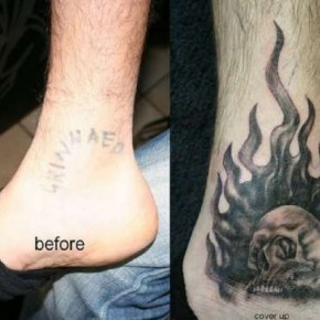 Ankle Skull Flames Cover Up Tattoo Ideas Pictures