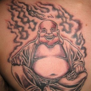 Awesome Buddhist Laughing Tattoo On Chest Pictures