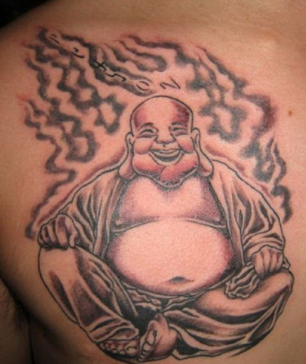 Awesome Buddhist Laughing Tattoo On Chest