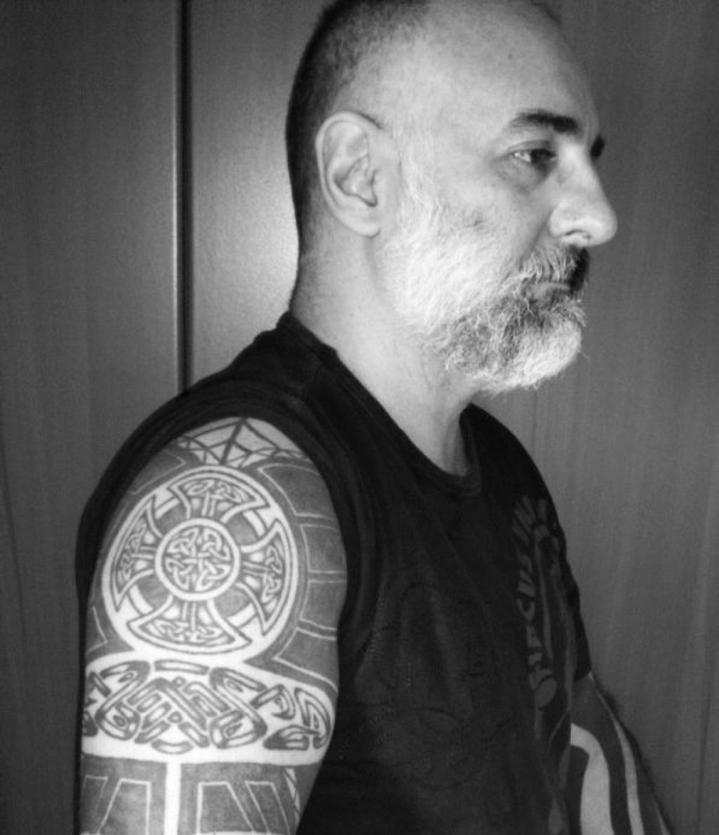 Awesome Celtic Cross Tribal Tattoo Full Sleeve Pictures