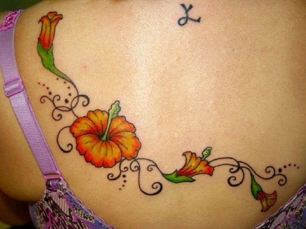 Awesome Ladyline Hibiscus Tattoo On Back