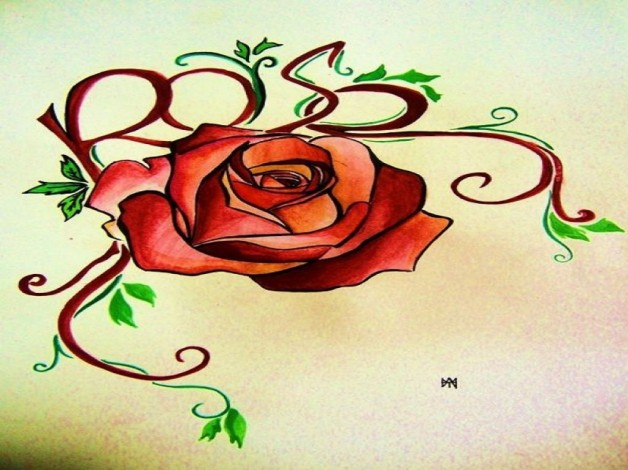 Awesome Rose Tattoo Design By Fpista