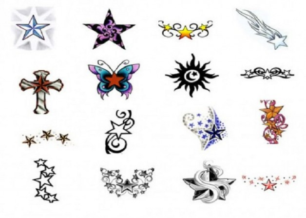 Awesome Star Tattoo Stencils Designs
