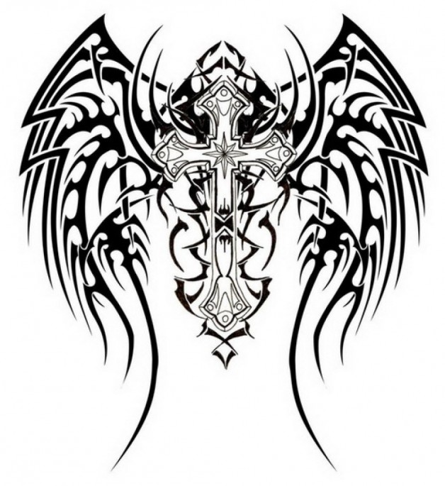 Awesome Tribal Cross Tattoos Design