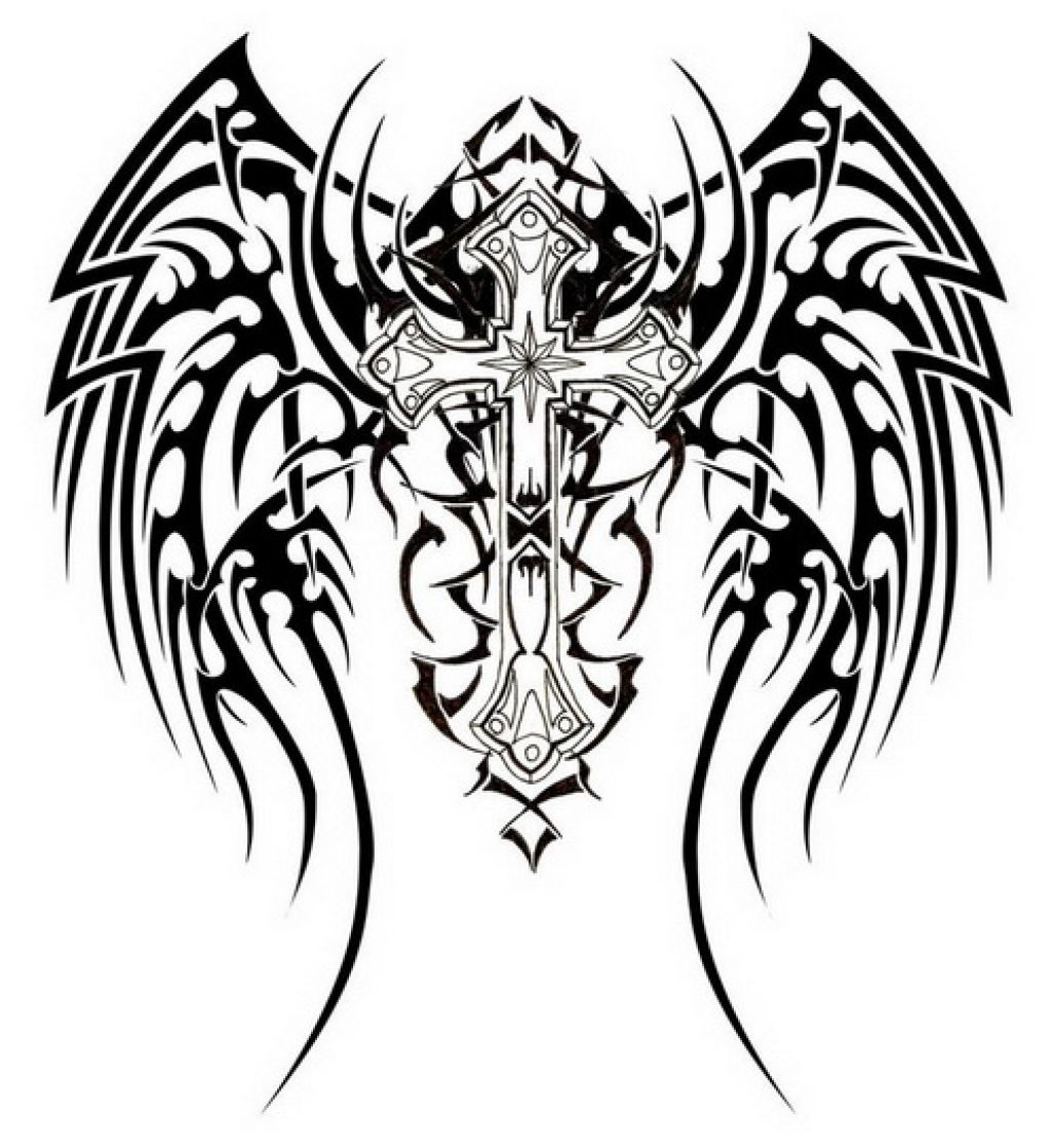 Awesome Tribal Cross Tattoos Design Pictures