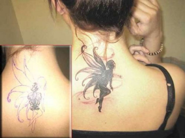 Back Neck Angel Wings Cover Up Tattoo
