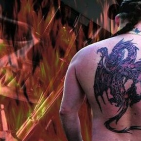 Back Tattoos Paper Dragon Motif Pictures