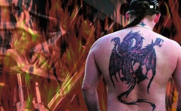 Back Tattoos Paper Dragon Motif