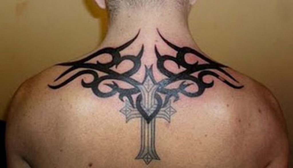 Back Tribal Cross Tattoo Cool Pictures