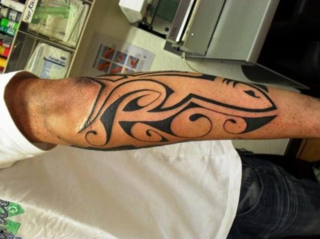 Beautiful Back Forearm Fish Tribal Tattoo