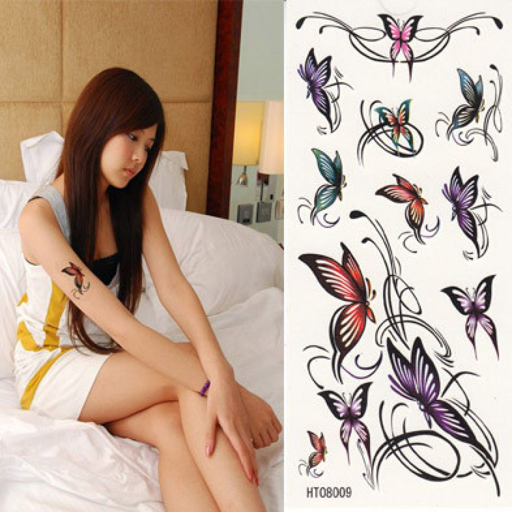 beautiful butterfly temporary tattoo design. Black Bedroom Furniture Sets. Home Design Ideas