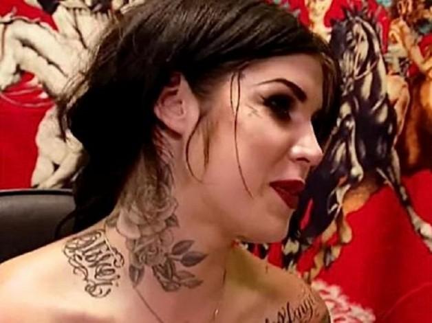 Beautiful Flower Tattoo On Neck From Kat Von D LA Ink Tattoo