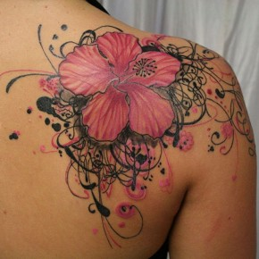 Beautiful Pink And Black Hibiscus Flower Tattoo On Shoulder Pictures