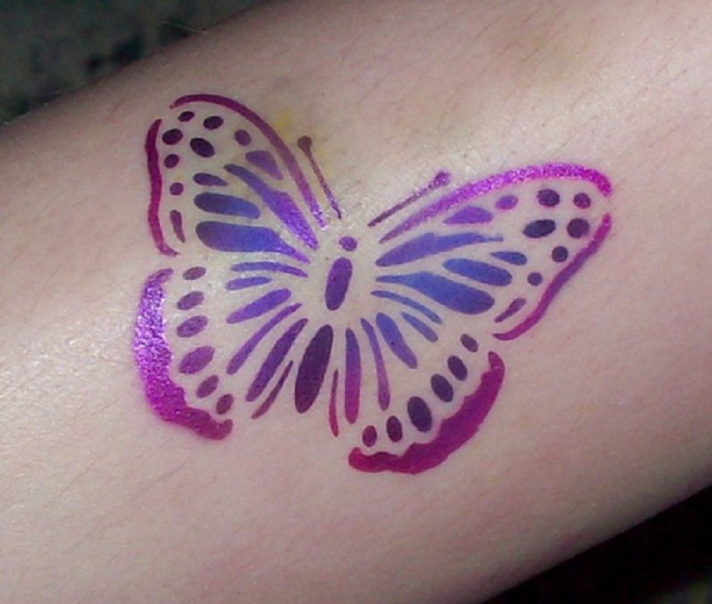 Beautiful Violet Airbrush Butterfly Tattoo Pictures