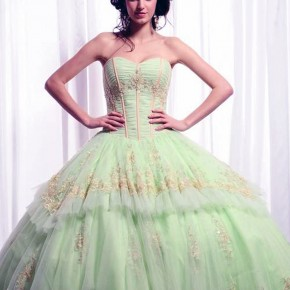 Big Puffy Prom Dresses Green Pictures