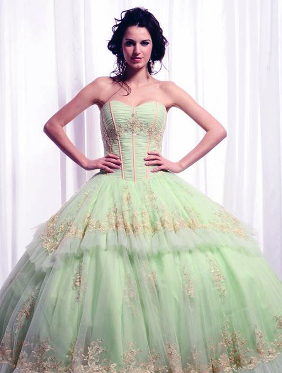Big Puffy Prom Dresses Green - Inofashionstyle.com