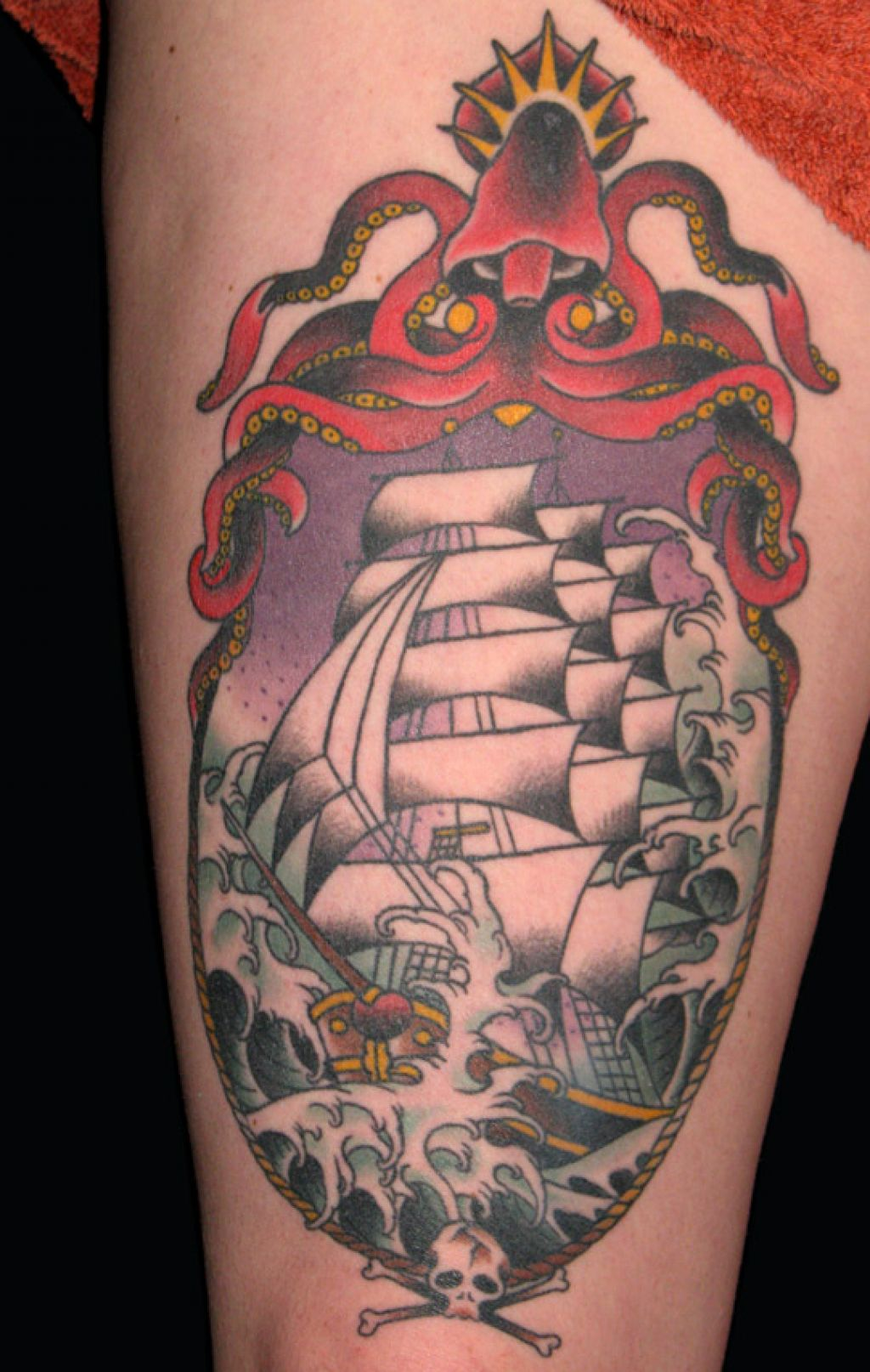 Big ship sailor jerry tattoo for Sailer jerry tattoo
