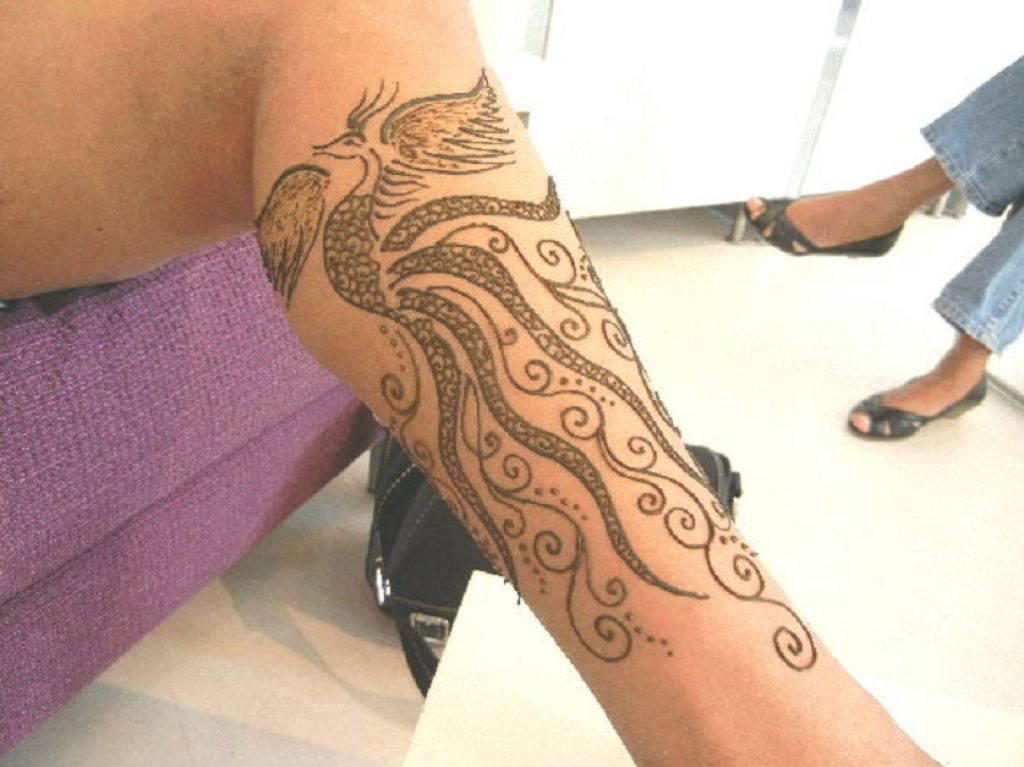 Bird Henna Tattoo Design On Leg Pictures
