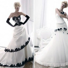 Black And White Wedding Dresses 2013 Pictures