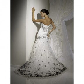 Black And White Wedding Dresses, Romantic Gothic Black and White Corset Wedding Gowns Strapless