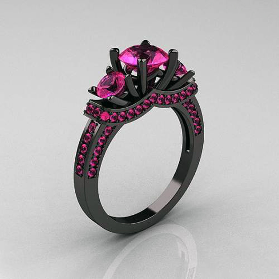 black gold wedding ring black gold rings with pink diamonds inofashionstyle 1851