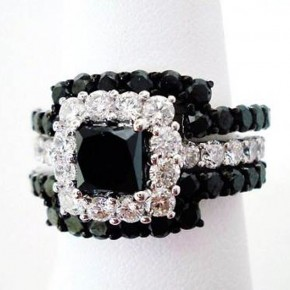 Black Princess Cut Wedding Rings Designs Pictures