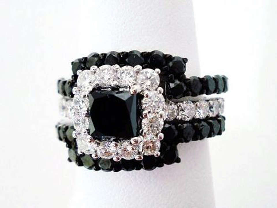 Black Princess Cut Wedding Rings Designs