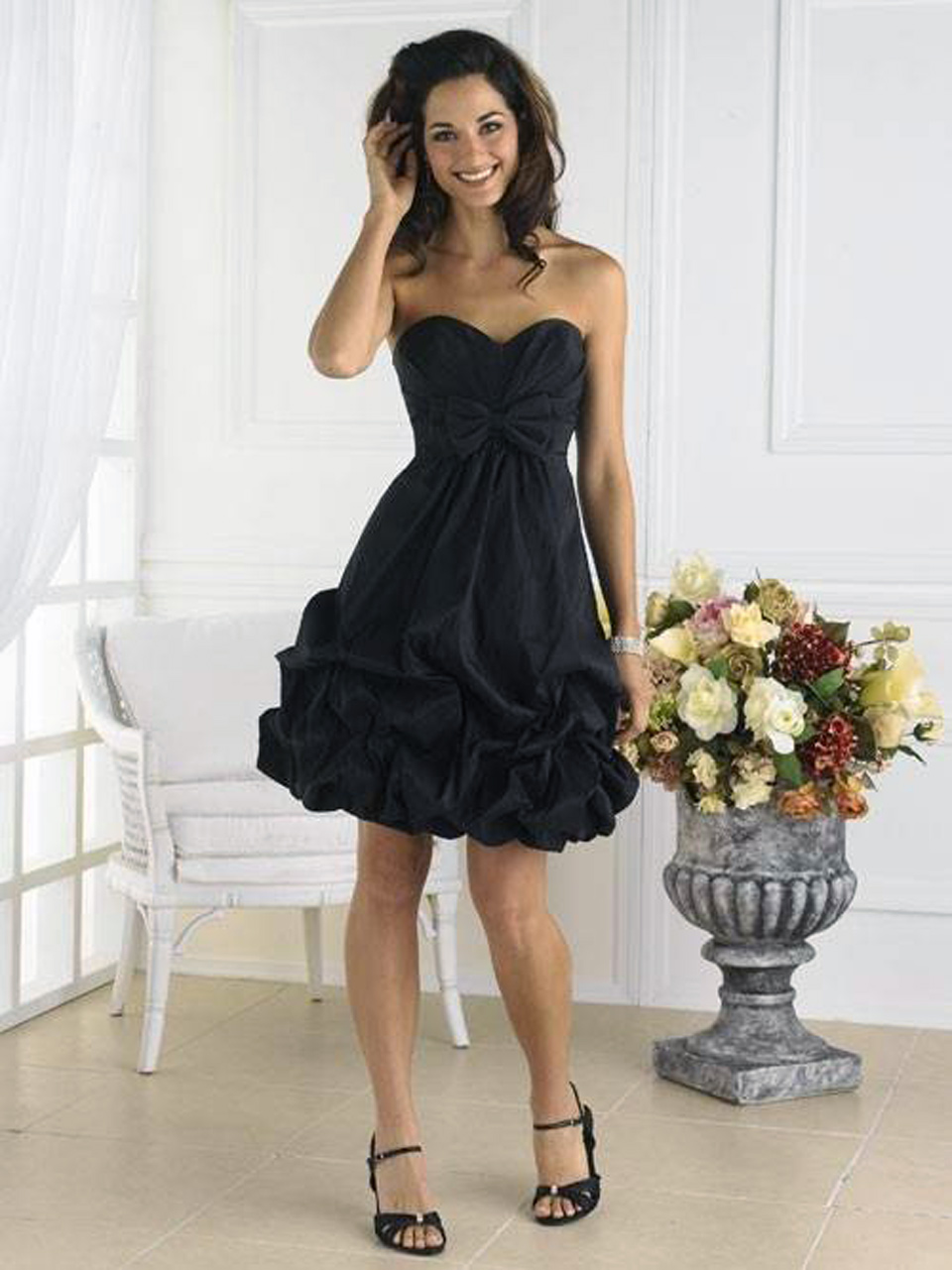 Black Puffy Short Dress 2013