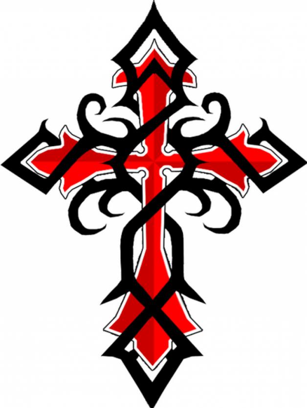 Black Red Celtic Cross Tattoos