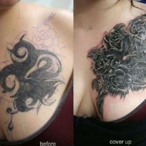Black Roses Cover Up Tattoo On Chest Pictures