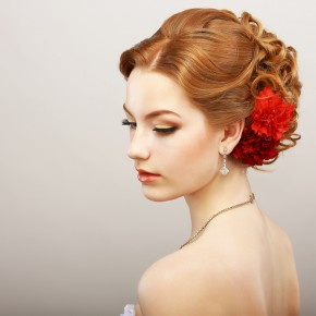 bridal updo with curls
