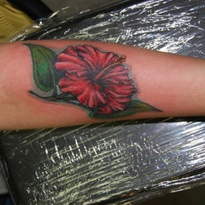 Bright Red Hibiscus Flower With Green Leaves For For Forearm Tattoo Pictures