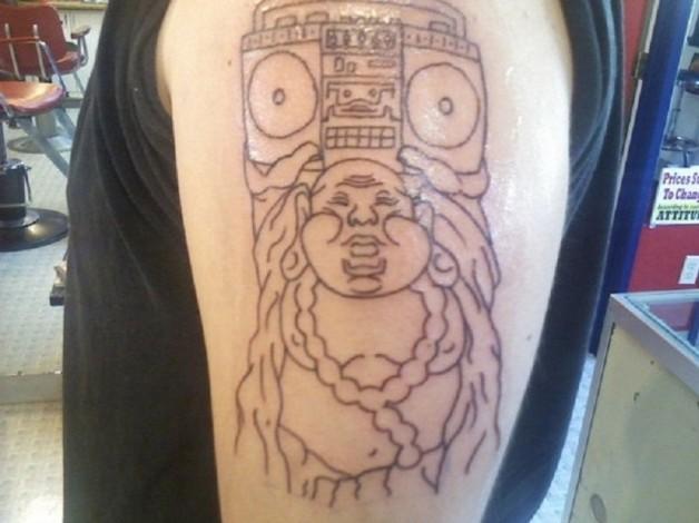 Buddha Boombox Tattoo For Upper Arm