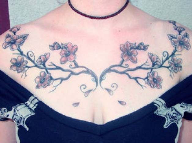 Cherry Blossom Chestpiec Tattoo Ideas