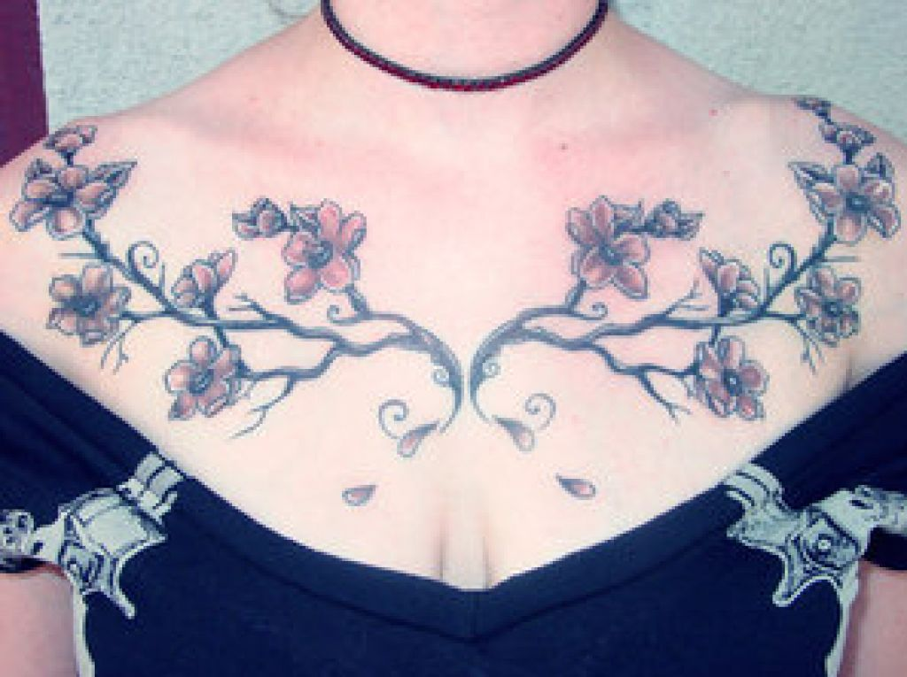 Cherry Blossom Chestpiec Tattoo Ideas Pictures