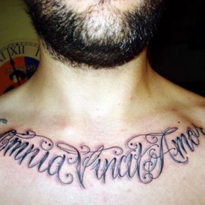 Chest Calligraphic Fonts Tattoo Design Ideas Pictures