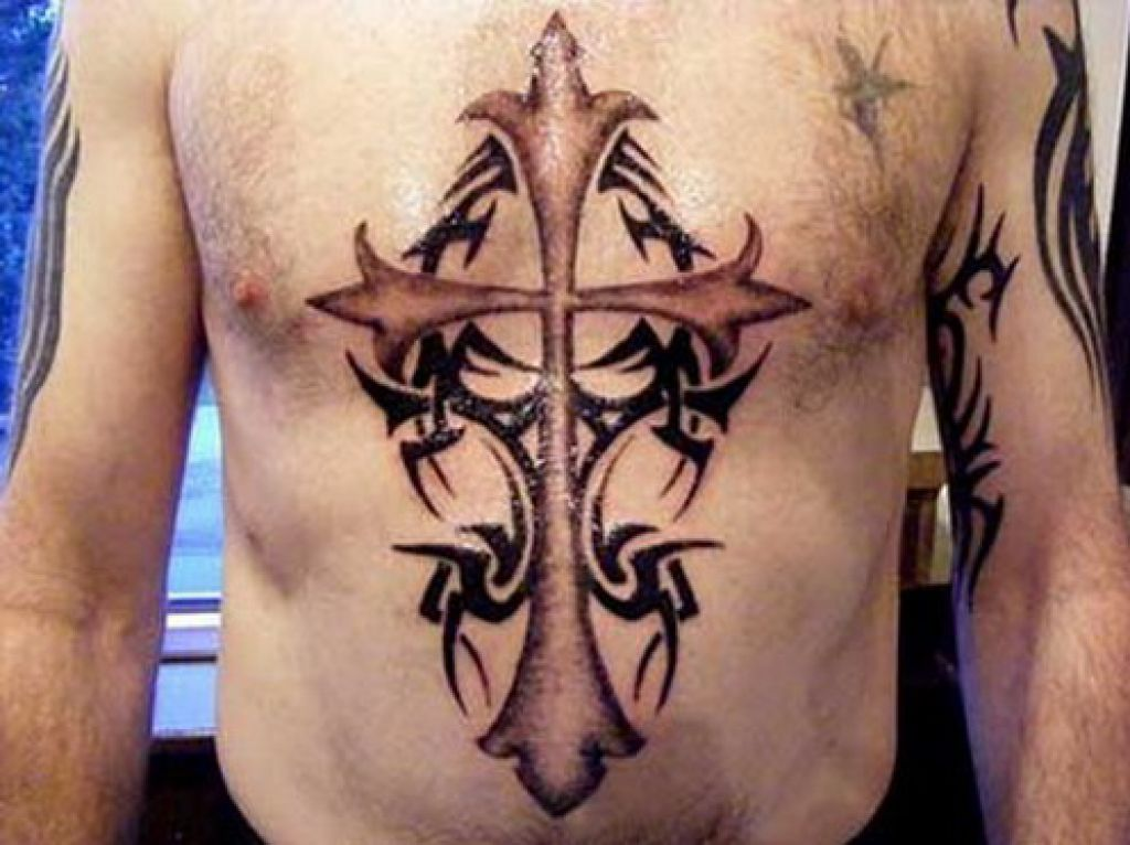 Chest Cross Tattoo Ideas For Men Pictures