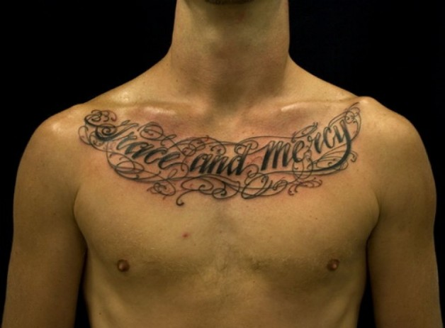 Chest Tattoo Lettering Ideas For Mens
