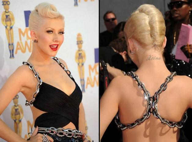 Christina Aguilera XTina Tattoo On Neck Of Back