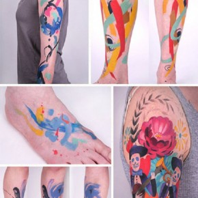 Colorful Abstract Fake Tattoos Pictures