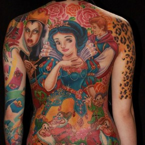 Colorful Animated Full Body Tattoo Showing Fairy Clowns And Princes Pictures