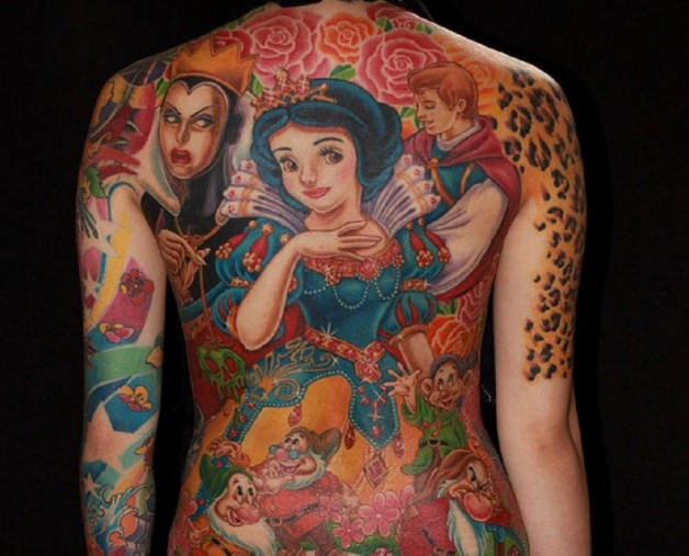 Colorful Animated Full Body Tattoo Showing Fairy Clowns And Princes